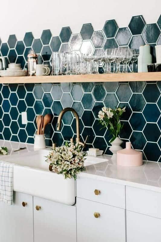 hexagon kitchen backsplash tile