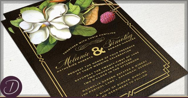 Rustic Magnolia Invitations by D