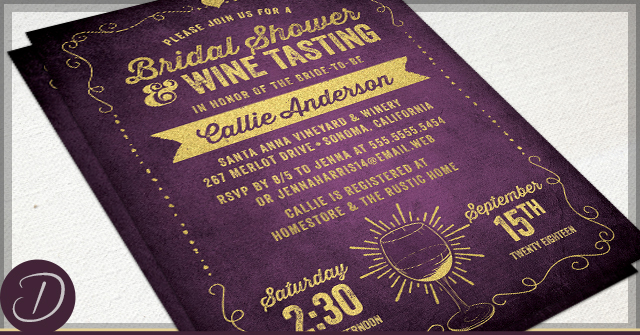 Rustic Vineyard Bridal Shower Invitations by D