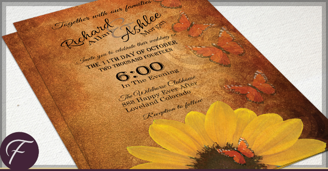 Rustic Sunflower Wedding Invitations by F
