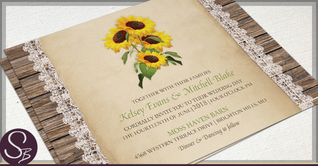 Rustic Sunflower Wedding Invitations by SB