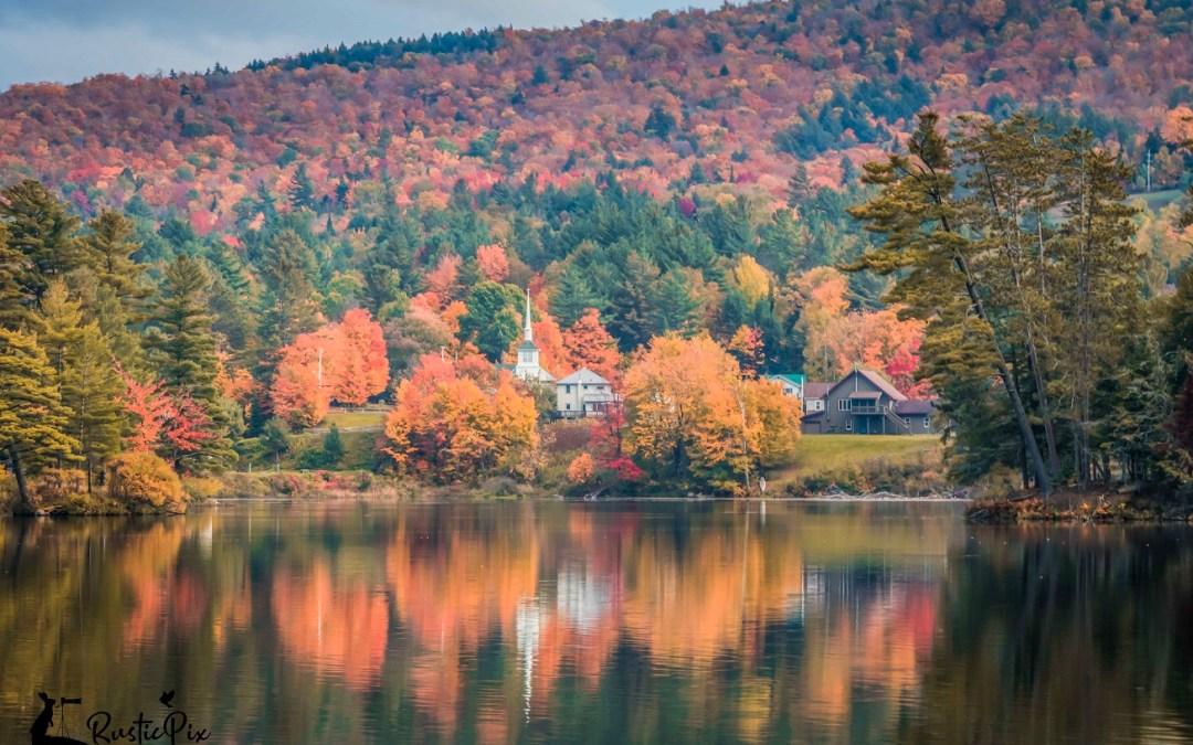 Long Lake NY white church fall foliage