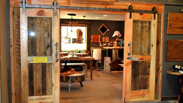 Doors made from Glass & Reclaimed Wood
