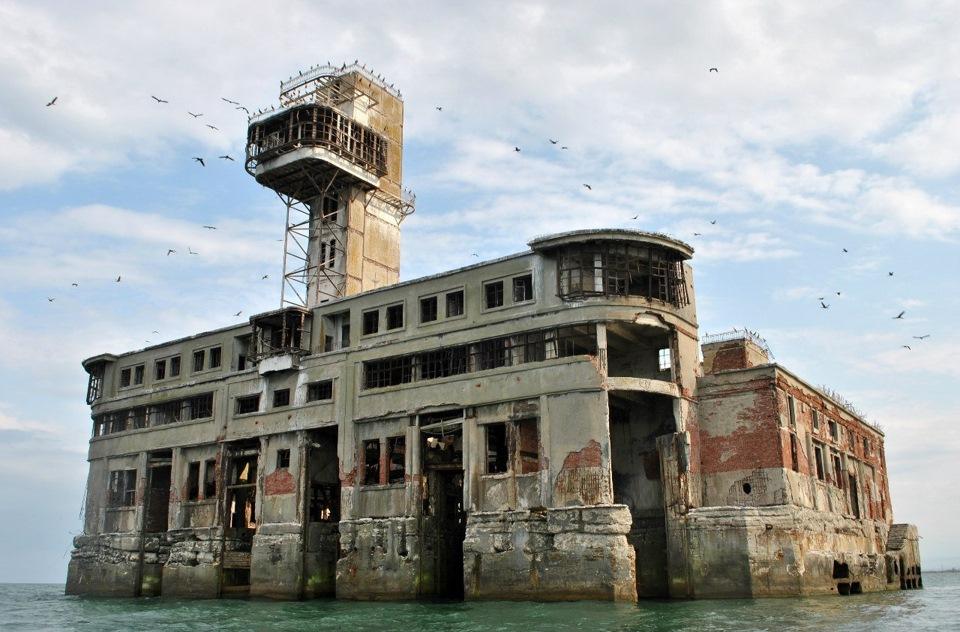 Abandoned marine weapon test station