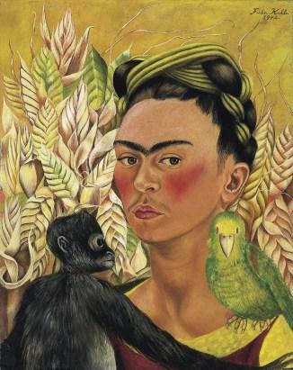 Autoportrait avec singe et perroquet - 1942