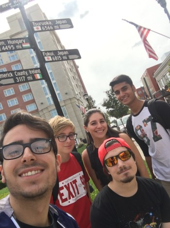 At Monument Square Park, Team 1 came across an interesting sign which pointed out the distance between New Brunswick and countries such as Japan. This selfie may symbolize the many cultures which students can be exposed to at college while incorporating that into selfies and their everyday life.