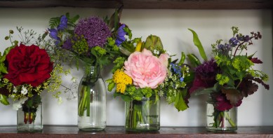Mini floral posies in recycled glass