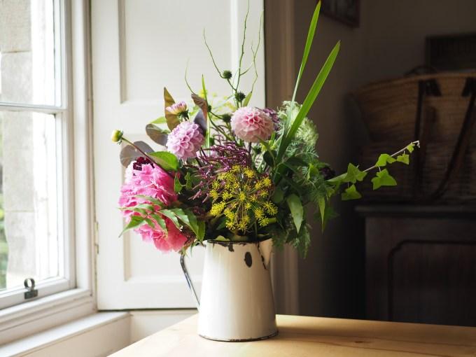 Enamel Jug with summer arrangement
