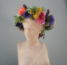 Zingy floral crown of local flowers