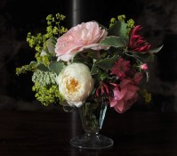 Rose and honeysuckle posy in vintage sundae glass