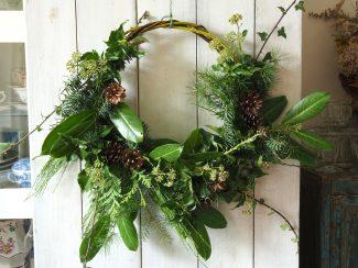 Christmas foliage wicker wreath