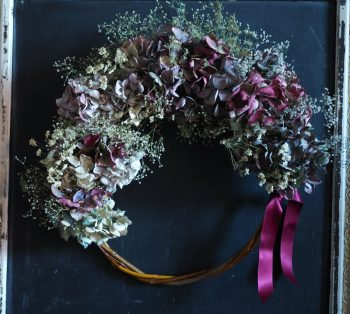 Hydrangea and baby's breath wreath