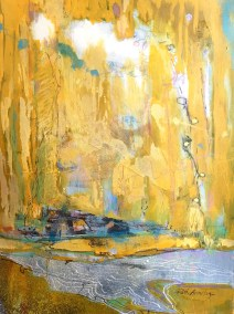 Golden Shore Abstracted Landscape