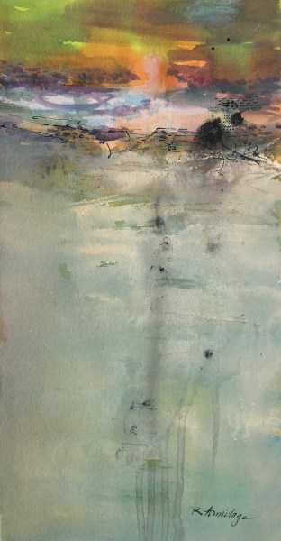 """Sundown"" Mixed Media on Paper, 7""x11"" ©Ruth Armitage"