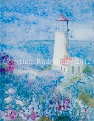 """North Head Lighthouse, watercolor, 23"""" x 18"""""""