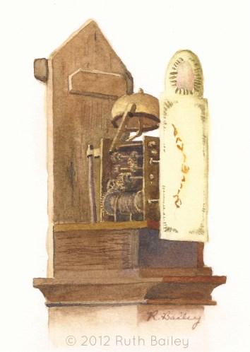 "Clockworks, watercolor, 6"" x 4"" Trying to escape July's heat had me painting indoor subjects like our grandfather clock."