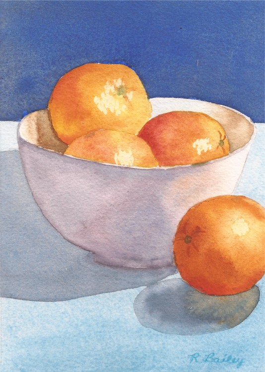 """Oranges in a Bowl #1, watercolor, 7"""" x 5"""""""