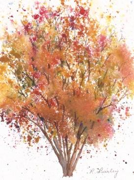 "Autumn Birch, watercolor, 7"" x 5"""