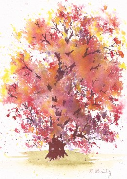 "Autumn Red Oak, watercolor, 7"" x 5"""