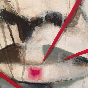 Detail of acrylic on paper painting Behind the Mask