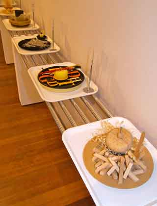 Lunch trays in canteen set up at exhibition.