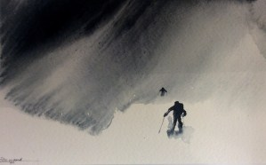 Watercolour painting by R.T.Brokstad – In a Swirl of Blowing Snow