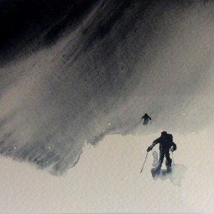 Snyfokk-In a Swirl of Blowing Snow - Watercolour giclee print by RT Brokstad
