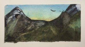 Original Watercolour: Before The Sun Rises-Styles > Landscapes, Techniques > Original Watercolours-Rutheart
