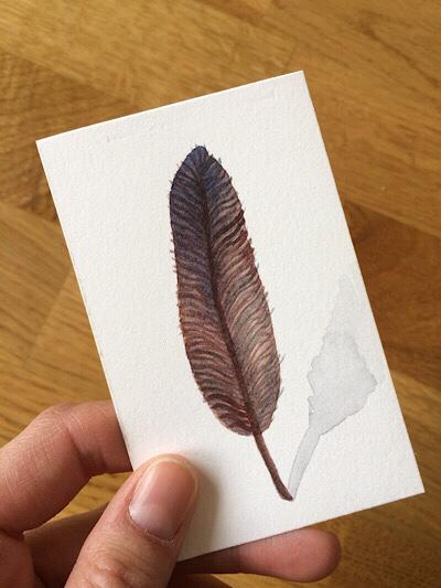 Feather Card #4-Techniques > Cards, Techniques > Cards > Feathers, Size > Small (up to 21 cm, eg. A5)-Rutheart