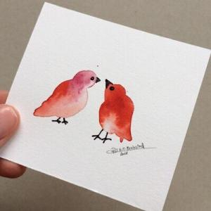 Tiny Bird Painting #3-Styles > Birds, Techniques > Original Watercolours, Size > Small (up to 21 cm, eg. A5), Techniques > Cards > Tiny Bird Paintings-Rutheart