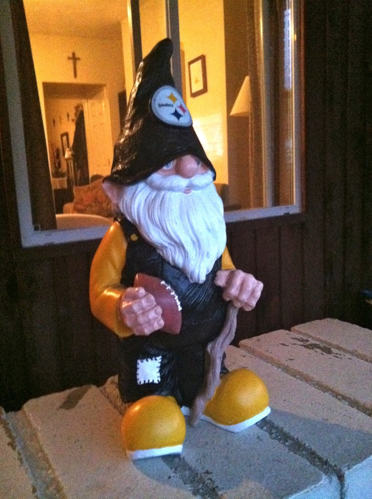 Steelers Garden Gnome Stands Guard