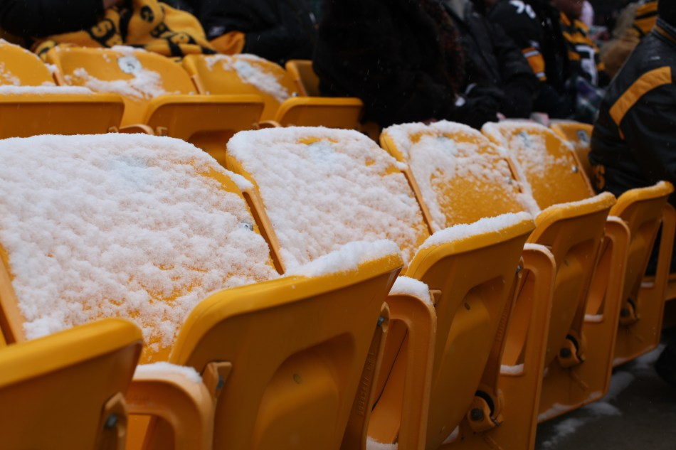 Snow covered seats at heinz field