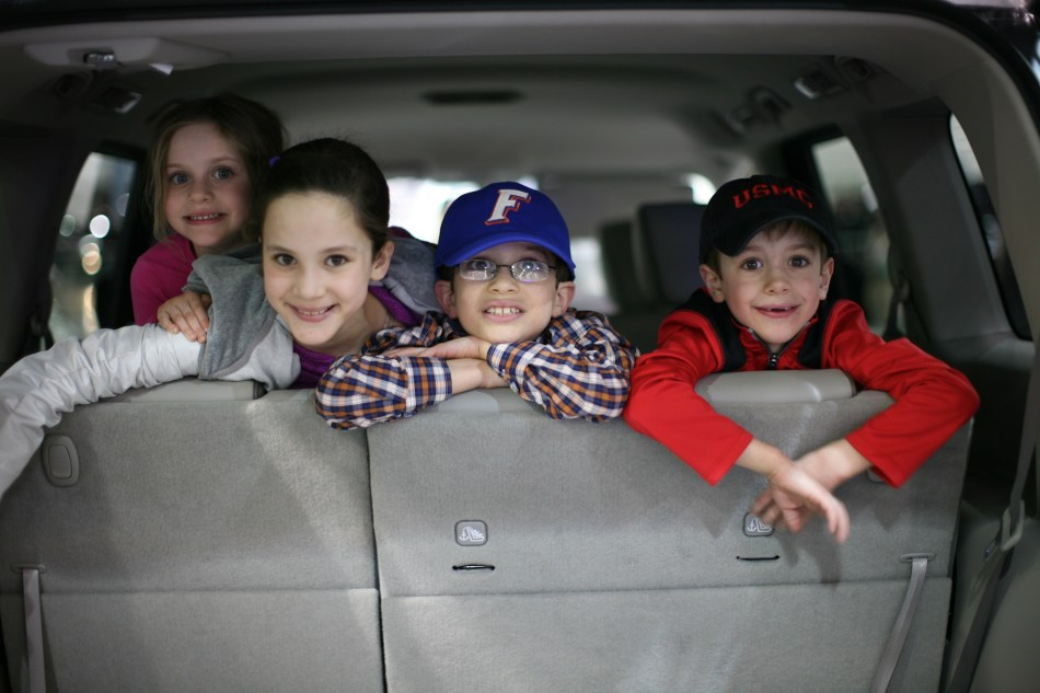 kids inside a car