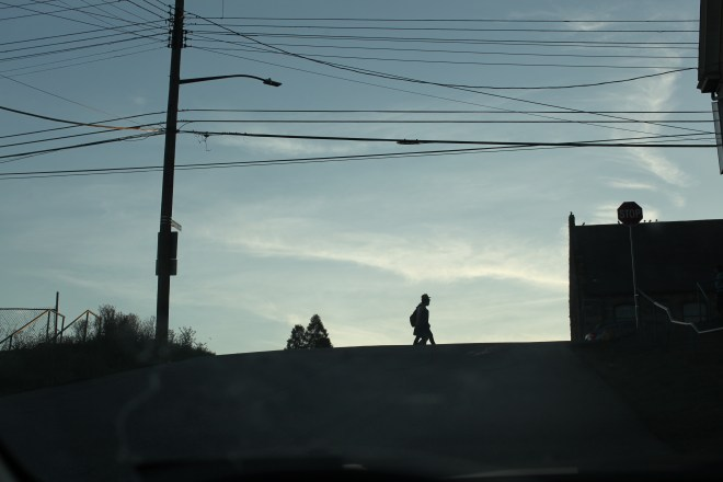 students in crosswalk silhouette
