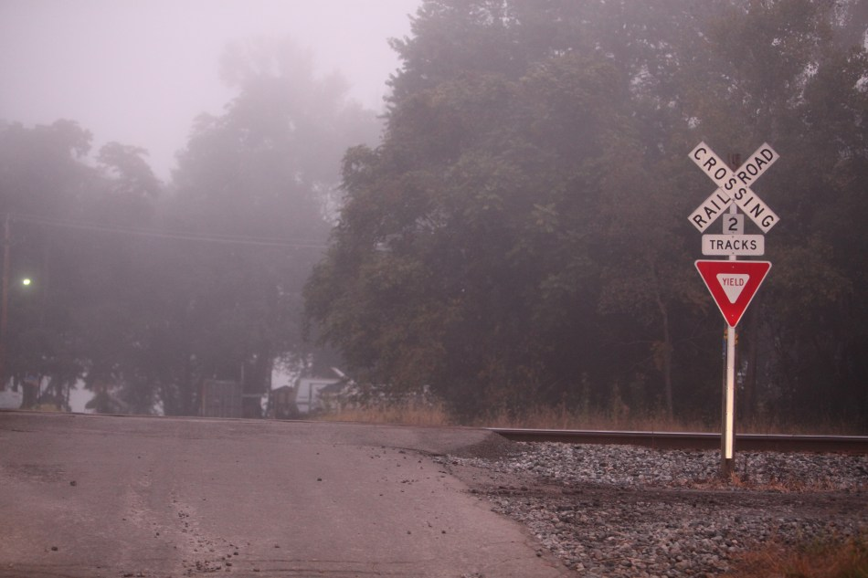 Railroad Crossing in the Fog