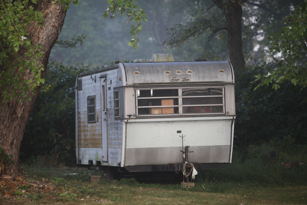 trailer in the woods