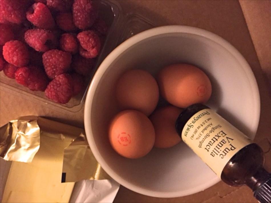 eggs vanilla butter raspberries 018