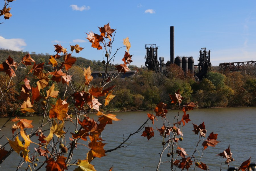 carrie Furnace and autumn leaves