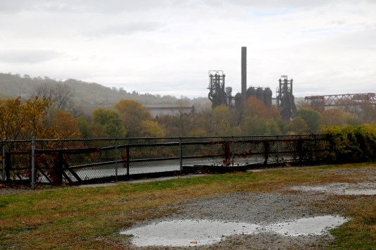 Carrie Furnace in the rain yesterday