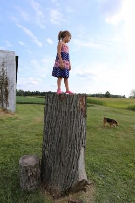 Maura atop stump