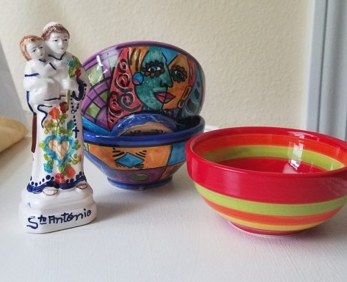Tiny bowls and St. Antonio figurine from Barcelona, Spain.