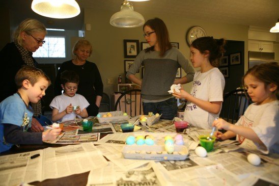 Aunt Lala helps color eggs