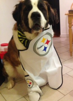 Here's Floyd in his Steelers apron