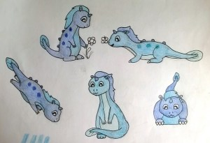 Initial sketch - designing the water dragons.