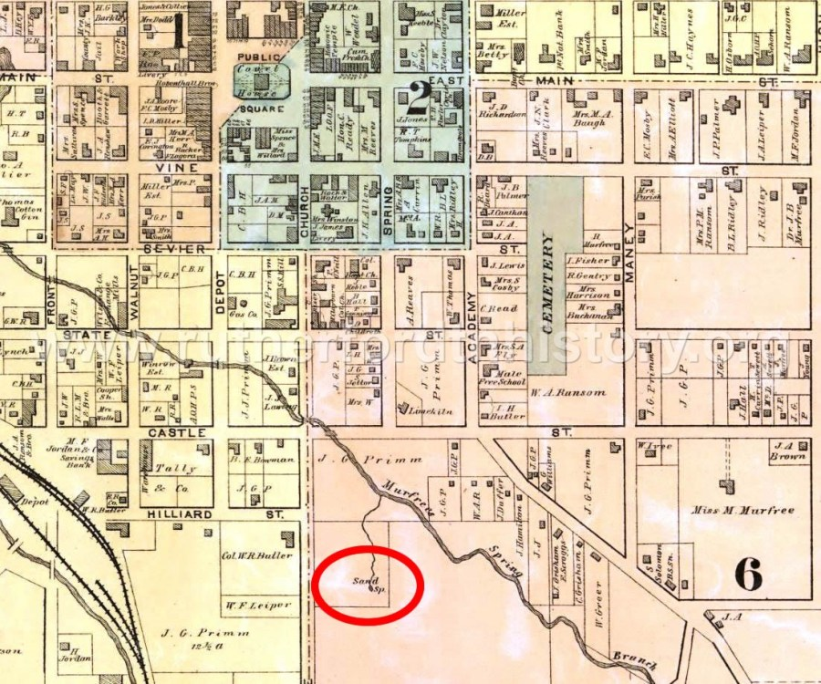 Sand Spring was located approximately 350 feet behind the present day location of R.J. Young , 725 South Church Street.