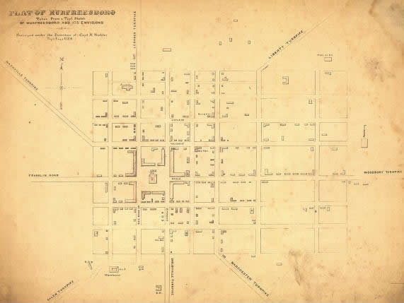 This Civil War-era map shows that many of the downtown Murfreesboro's main streets remain the same 145 years later.  But many of the roadways leading into town charged a toll for access.  (From the Library of Congress)