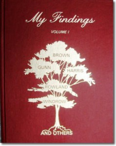 Publication 56: My Findings, Volume I by Lillian B. Johnson (families of Brown, Gunn, Harris, Rowland, Windows and others). Hard cover (Please add shipping of $7.00)
