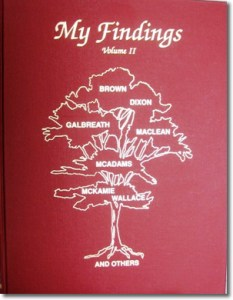 Publication 57: My Findings, Volume II by Lillian B. Johnson (families of Brown, Dixon, Galbreath, McLean, McAdams, McKamie, Wallace and others). Hard cover (Please add shipping of $7.00)