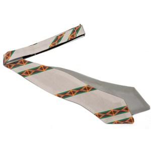 untied light grey silk bow tie with color stripe