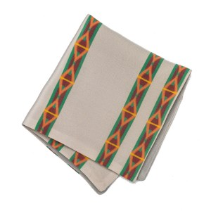 light Grey pocket square with orange and yellow stripe pattern